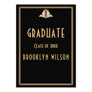 Black Graduation Party Invitations Art Deco