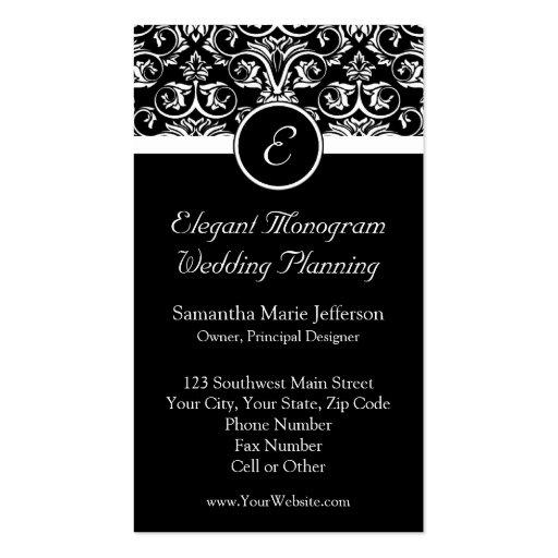 Black Grand Insignia Monogram Business Cards