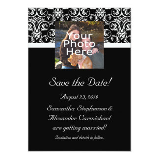 Black Grand Insignia Monogram Photo Save the Date Card
