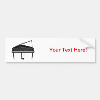 Black Grand Piano: 3D Model: Bumper Sticker