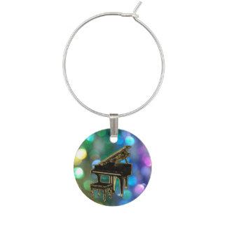 Black Grand Piano on Rainbow Glitter Wine Charm