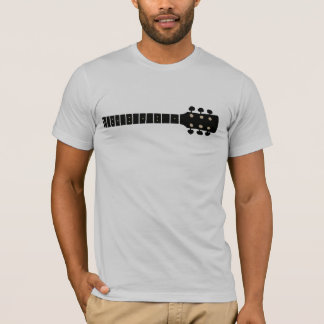 black graphic acoustic guitar neck, cool music T-Shirt