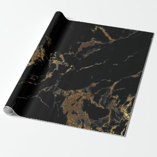 Black Graphite Gold Glam Marble Wrapping Paper