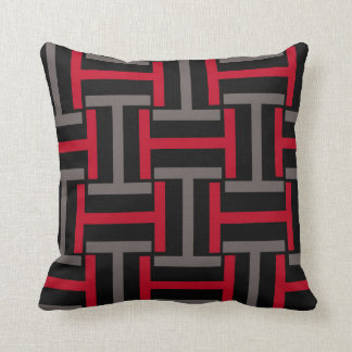 Black, Gray and Red T Weave Throw Pillow