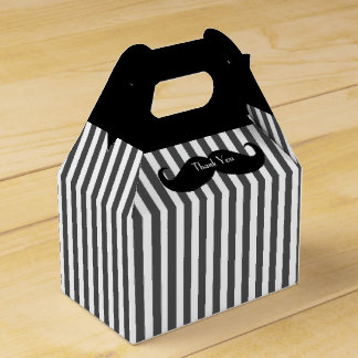 Black, Gray, and White Mustache Groomsman Gift Box Party Favour Box
