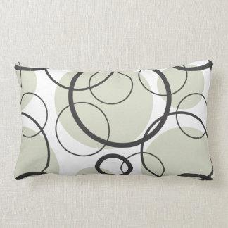Black Gray and White Random Circle Pattern Pillow
