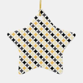 Black, Gray, and Yellow Diamonds Ceramic Star Decoration