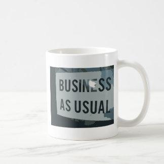 Black & Gray Business As Usual Sign Basic White Mug