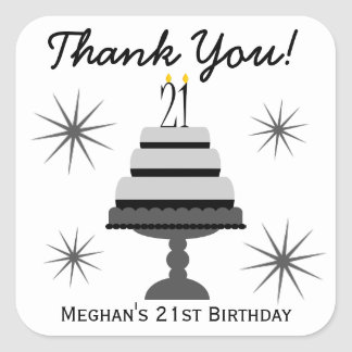 Black & Gray Cake 21st Birthday Favor Stickers