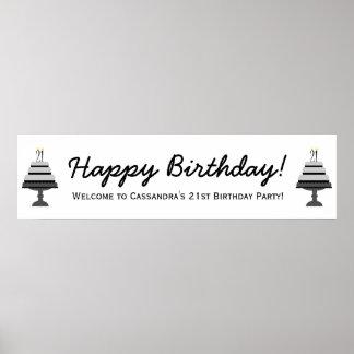 Black Gray Cake 21st Birthday Party Banner Poster