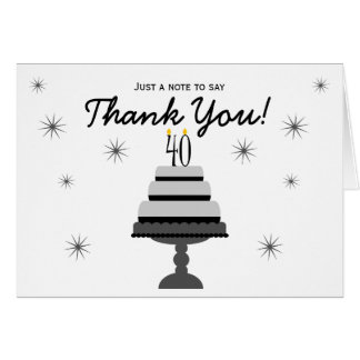 Black Gray Cake 40th Birthday Thank You Note Card