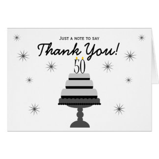 Black Gray Cake 50th Birthday Thank You Note Card