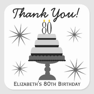 Black & Gray Cake 80th Birthday Favor Stickers