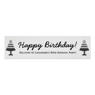 Black Gray Cake 80th Birthday Party Banner Poster