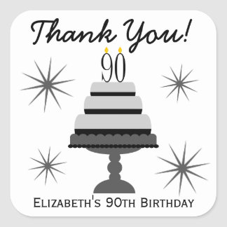 Black & Gray Cake 90th Birthday Favor Stickers
