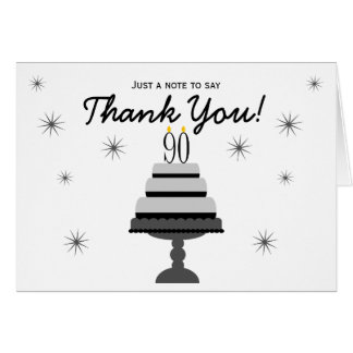 Black Gray Cake 90th Birthday Thank You Note Card