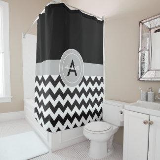 Black Gray Chevron Shower Curtain