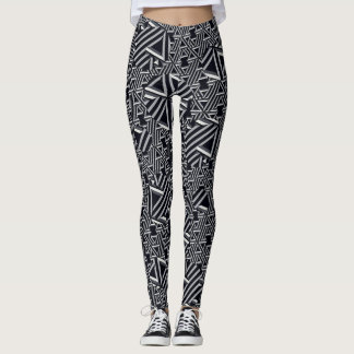 Black/Gray/Cream Abstract Leggings