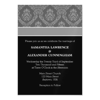 Black Gray Damask Magnetic Wedding Invitation Magnetic Invitations