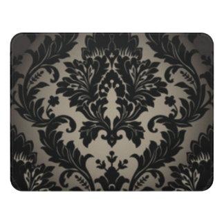 Black & Gray Damask Pattern Print Door Sign