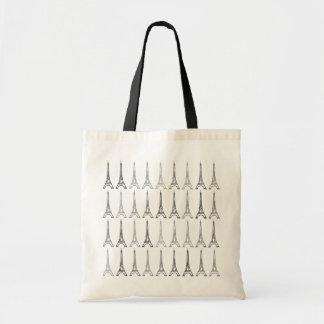 black/gray eiffel towers pattern tote bag