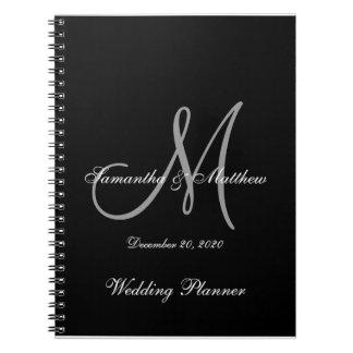 Black Gray Elegant Monogram Wedding Notebooks