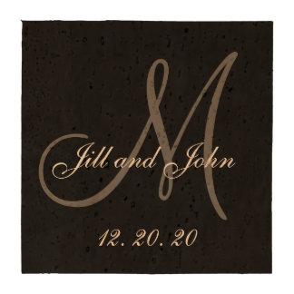 Black Gray Elegant Monogram Wedding Drink Coaster