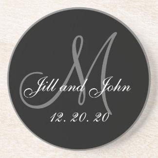 Black Gray Elegant Monogram Wedding Sandstone Coaster