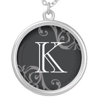 Black gray flourish initial monogram letter charm round pendant necklace