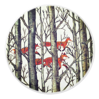 Black Gray Fox Foxes Forest Woodland Drawer Pull