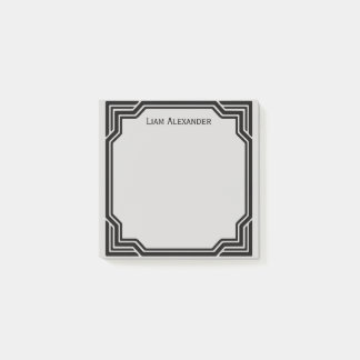 Black & Gray Framed Classic Border | Personalized Post-it Notes