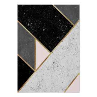 Black, Gray, Gold and Pastel Pink Geometric Design Poster
