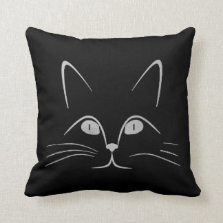 Black Gray Graphite Silver Glam Cat Throw Pillow