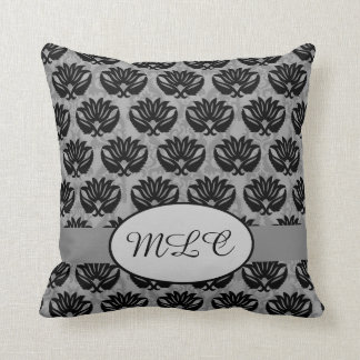 Black Gray Grey Monogram Damask Custom Throw Pillow