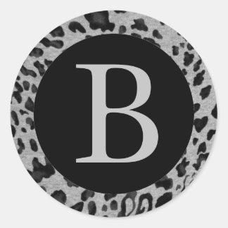 """Black & Gray Leopard"" Classic Round Sticker"