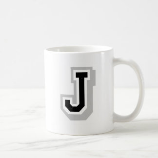 black gray letter J Coffee Mug