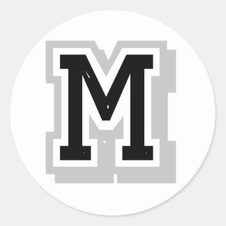 black gray letter M Classic Round Sticker
