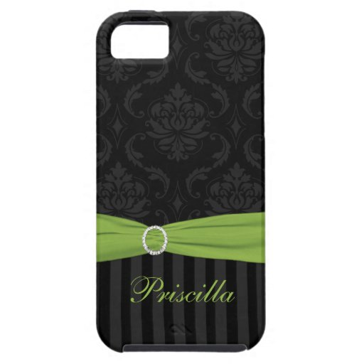 Black Gray Lime Damask Striped iPhone 5 Case
