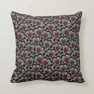 Black, Gray, Maroon Hearts Cushion