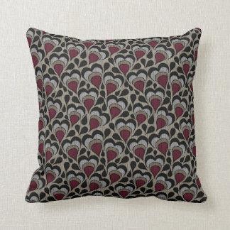 Black, Gray, Maroon Hearts Throw Pillow
