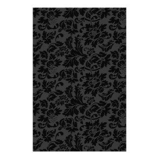 Black & Gray Monochromatic Vintage Floral Damasks Stationery