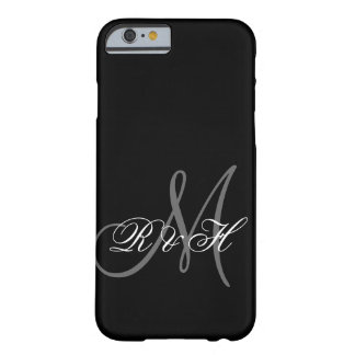 BLACK GRAY MONOGRAM INITIALS BARELY THERE iPhone 6 CASE