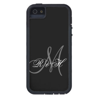 BLACK GRAY MONOGRAM INITIALS CASE FOR iPhone 5