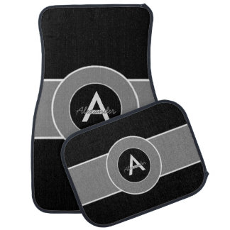 Black Gray Monogram Personalized Car Mat