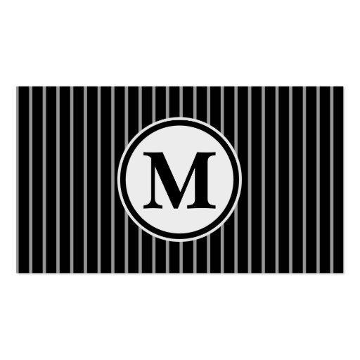 Black Gray Monogram Pinstripe Stripe Pattern Business Card