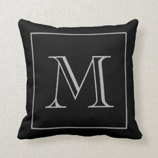 Black Gray Monogram Throw Pillow