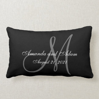 Black Gray Monogram Wedding Lumbar Cushion