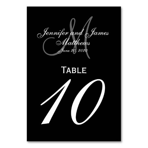 Black Gray Monogram Wedding Table Number Card Table Card