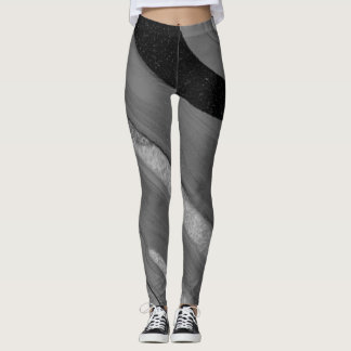 Black Gray Poured-Paint Abstract - Leggings