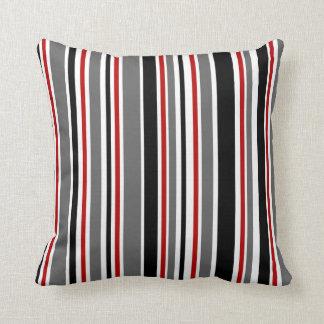 Black, Gray, Red, White, Stripes Cushion